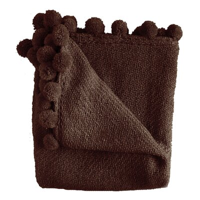 Paloma Pom Pom Fringe Throw Color: Chocolate