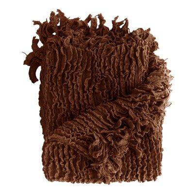 Melisande Ruffled Throw Blanket Color: Chocolate