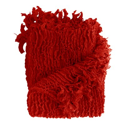 Melisande Ruffled Throw Blanket Color: Red