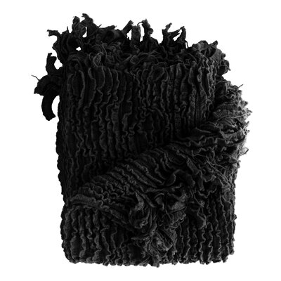 Melisande Ruffled Throw Blanket Color: Black