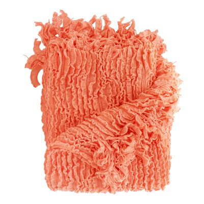 Melisande Ruffled Throw Blanket Color: Coral