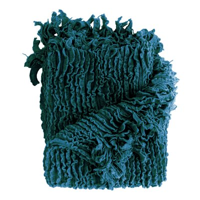 Melisande Ruffled Throw Blanket Color: Teal