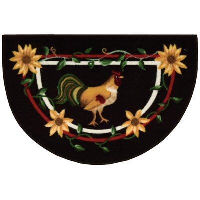 Lyn Rooster Black/Red Area Rug Rug Size: Half-Circle 26 x 18