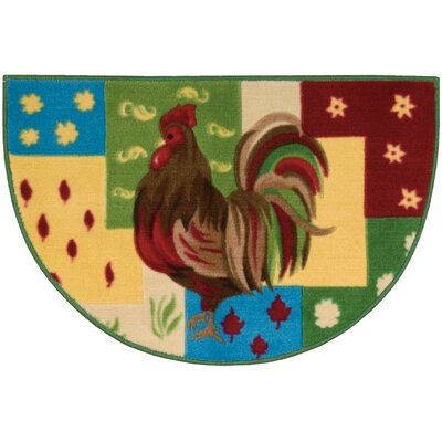 Lyn Rooster Green/Red Area Rug Rug Size: Half- Circle 2'6