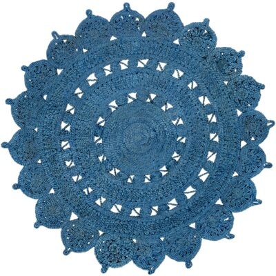 Sartain Hand-Woven Blue Area Rug Rug Size: Round 5