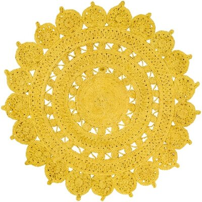 Sartain Hand-Woven Yellow Area Rug Rug Size: Round 8