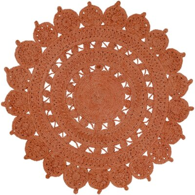 Sartain Hand-Woven Orange Area Rug Rug Size: Round 8