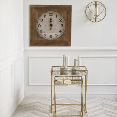 Square Brown Wood Wall Clock