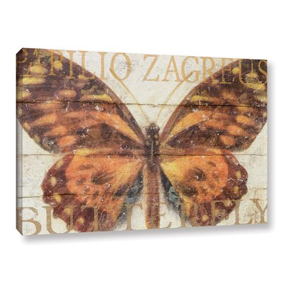 "Butterfly Wood Series II Graphic Art on Wrapped Canvas Size: 32"" H x 48"" W x 2"" D ATGR7705 33338005"