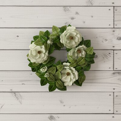 Southern Charm Magnolia 20 Blossom and Leaf Wreath