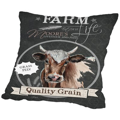 Ferdinand Chalkboard Cow Throw Pillow Size: 14 H x 14 W x 2 D
