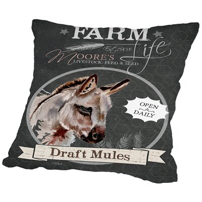 Coral Chalkboard Mule Throw Pillow Size: 18 H x 18 W x 2 D