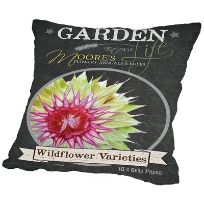 Helena Chalkboard Wildflower Throw Pillow Size: 14 H x 14 W x 2 D
