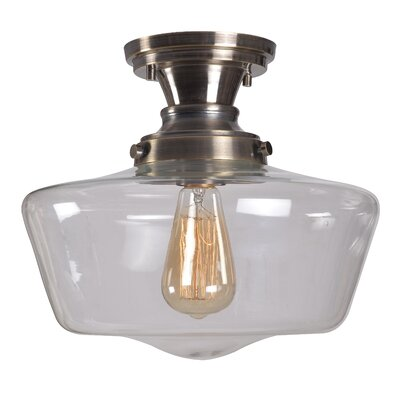 Priscilla 1-Light Semi Flush Mount Fixture Finish: Aged Metal