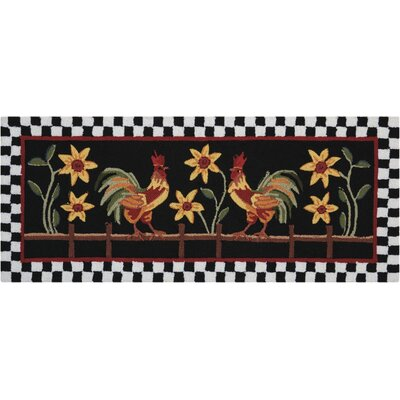 Kit Black/Red Area Rug Rug Size: Half Circle 17 x 28