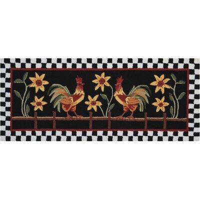Kit Black/Red Area Rug Rug Size: 18 x 29
