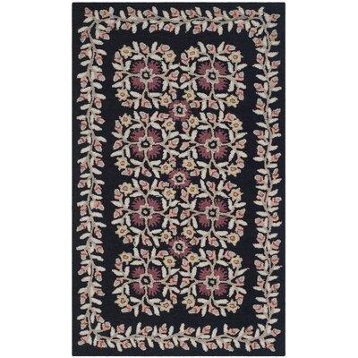 Folklore Hand-Loomed Black/Gray Area Rug Rug Size: 5 x 8