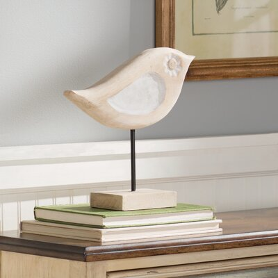 Brown/White Wood Bird Figurine