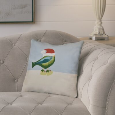 Merry Christmas Bird Throw Pillow Size: 16 H x 16 W, Color: Green