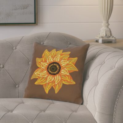 Floral Outdoor Throw Pillow Color: Brown