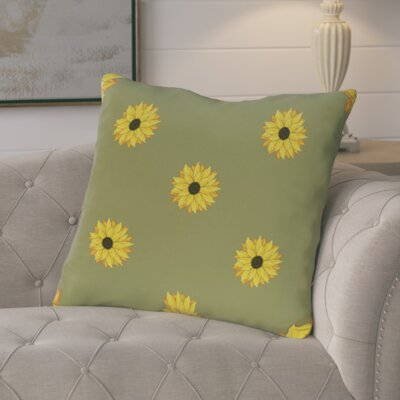 Vieux Sunflower Frenzy Flower Print Throw Pillow  Color: Green