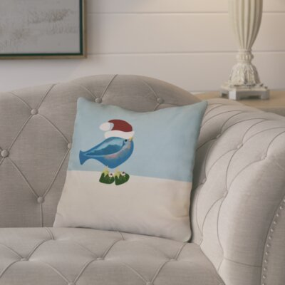 Merry Christmas Bird Throw Pillow Size: 26 H x 26 W, Color: Teal