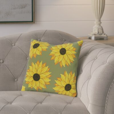 Cherokee Sunflower Power Floral Outdoor Throw Pillow Color: Green