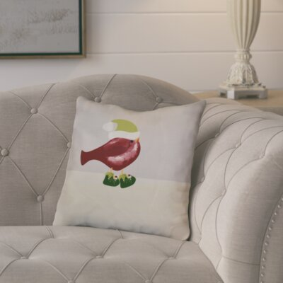 Decorative Holiday Animal Print Outdoor Throw Pillow Size: 18 H x 18 W, Color: Cranberry