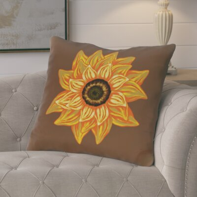 Essonne El Girasol Feliz Flower Print Throw Pillow Color: Brown