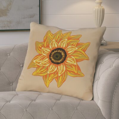 Essonne El Girasol Feliz Flower Print Throw Pillow Color: Beige/Taupe