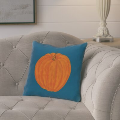 Ivy Lil Pumpkin Holiday Outdoor Throw Pillow Color: Blue