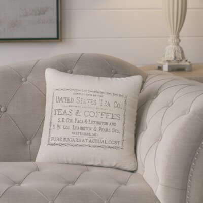 Danielle Vintage Tea And Coffee Linen Throw Pillow Size: 18 H x 18 W x 8 D