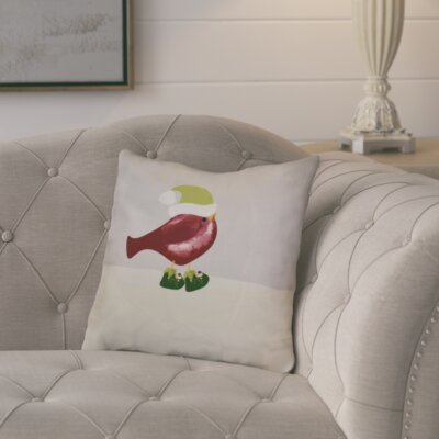 Merry Christmas Bird Throw Pillow Size: 18 H x 18 W, Color: Cranberry