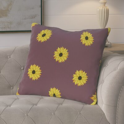 Vieux Sunflower Frenzy Flower Print Throw Pillow  Color: Purple