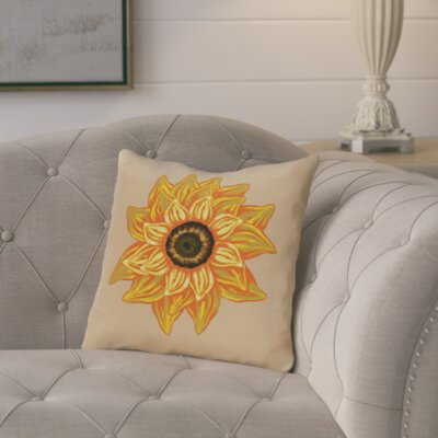Floral Outdoor Throw Pillow Color: Beige
