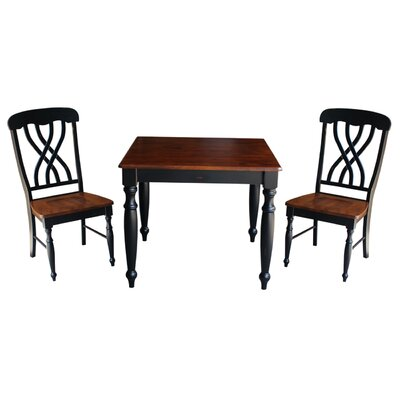 Mathilda 3 Piece Dining Set with Turned Legs