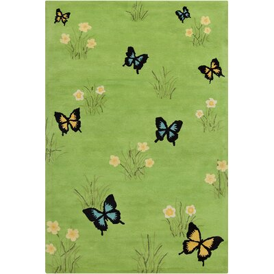 Mazie Hand Tufted Wool Green Area Rug