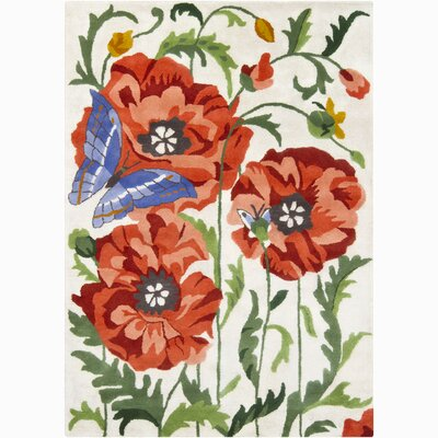 Lillian White/Red Flower & Butterfly Area Rug Rug Size: 5 x 76
