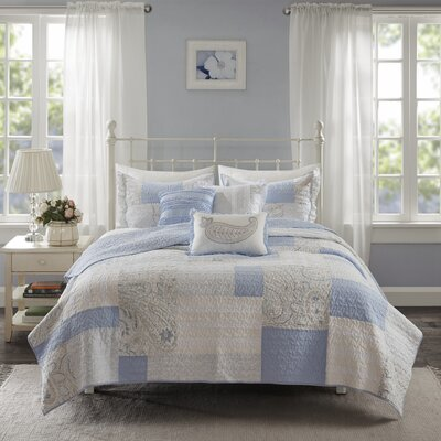 Preston Cotton 6 Piece Coverlet Set Size: King/Cal King, Color: Blue