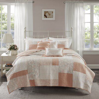 Preston Cotton 6 Piece Coverlet Set Size: Full/Queen, Color: Pink