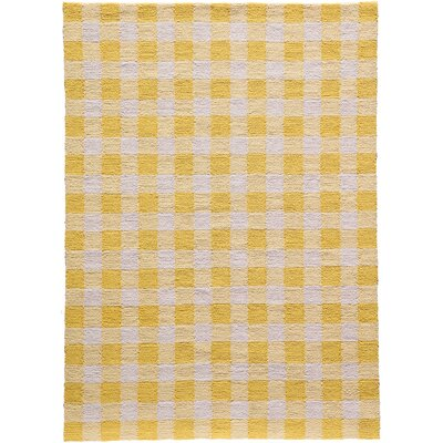 Violet Hand-Woven Yellow/White Area Rug Rug Size: Rectangle 76 x 96