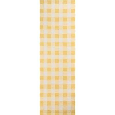 Violet Hand-Woven Yellow/White Area Rug Rug Size: Runner 23 x 76