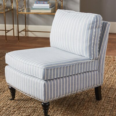 Armless Slipper Chair Upholstery: Blue/White