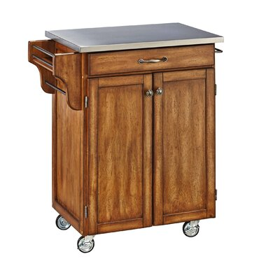 Savorey Kitchen Cart with Stainless Steel Top Base Finish: Oak