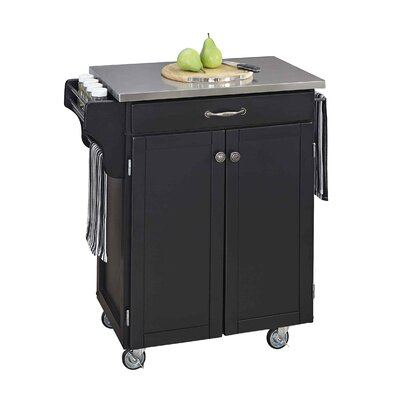 Savorey Kitchen Cart with Stainless Steel Top Base Finish: Black