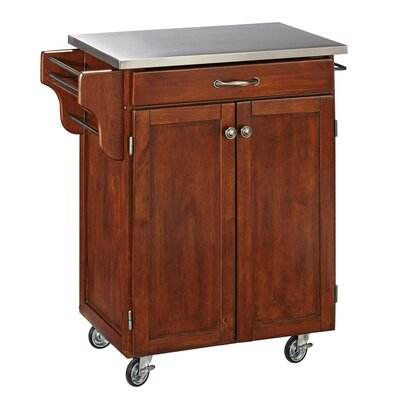 Savorey Kitchen Cart with Stainless Steel Top Base Finish: Cherry