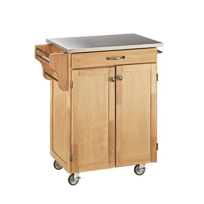 Savorey Kitchen Cart with Stainless Steel Top Base Finish: Natural