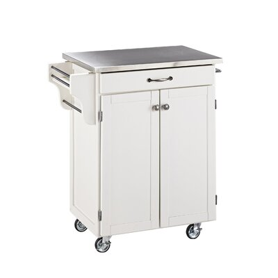 Savorey Kitchen Cart with Stainless Steel Top Base Finish: White
