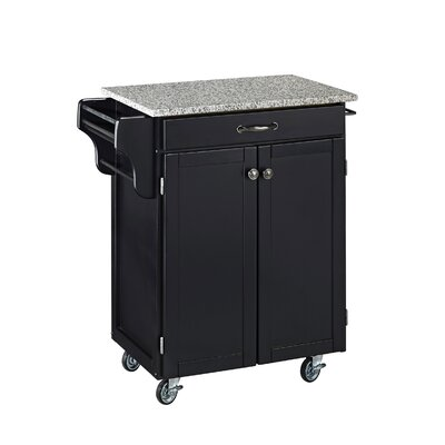 Savorey Kitchen Cart with Granite Top Base Finish: Black