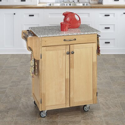 Savorey Kitchen Cart with Granite Top Base Finish: Natural